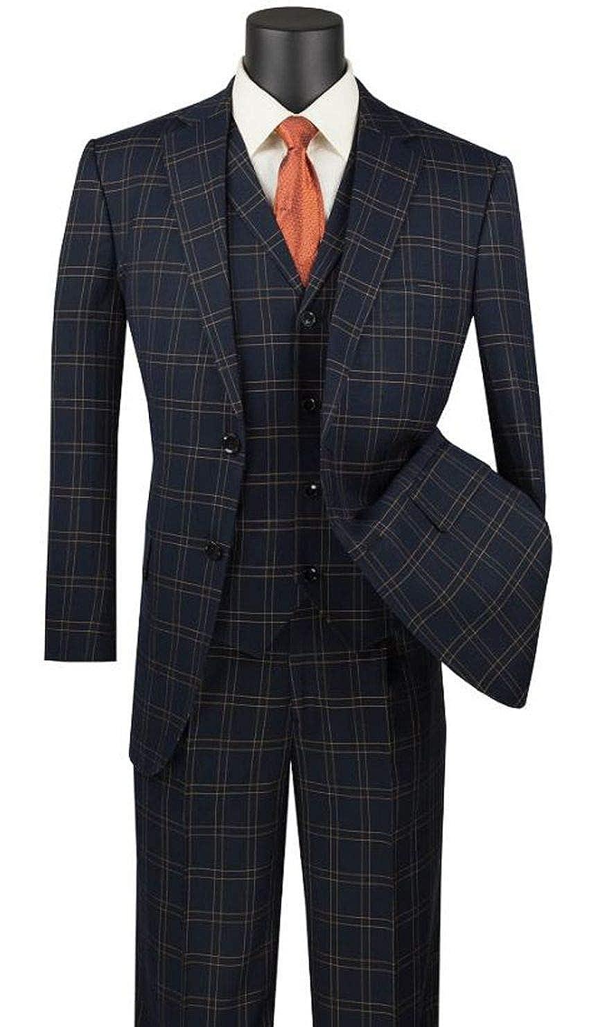 Men's Vintage Style Suits, Classic Suits VINCI Mens Glen Plaid Pattern 2 Button Single Breasted Classic Fit Suit W/Vest V2PD-1 $130.99 AT vintagedancer.com