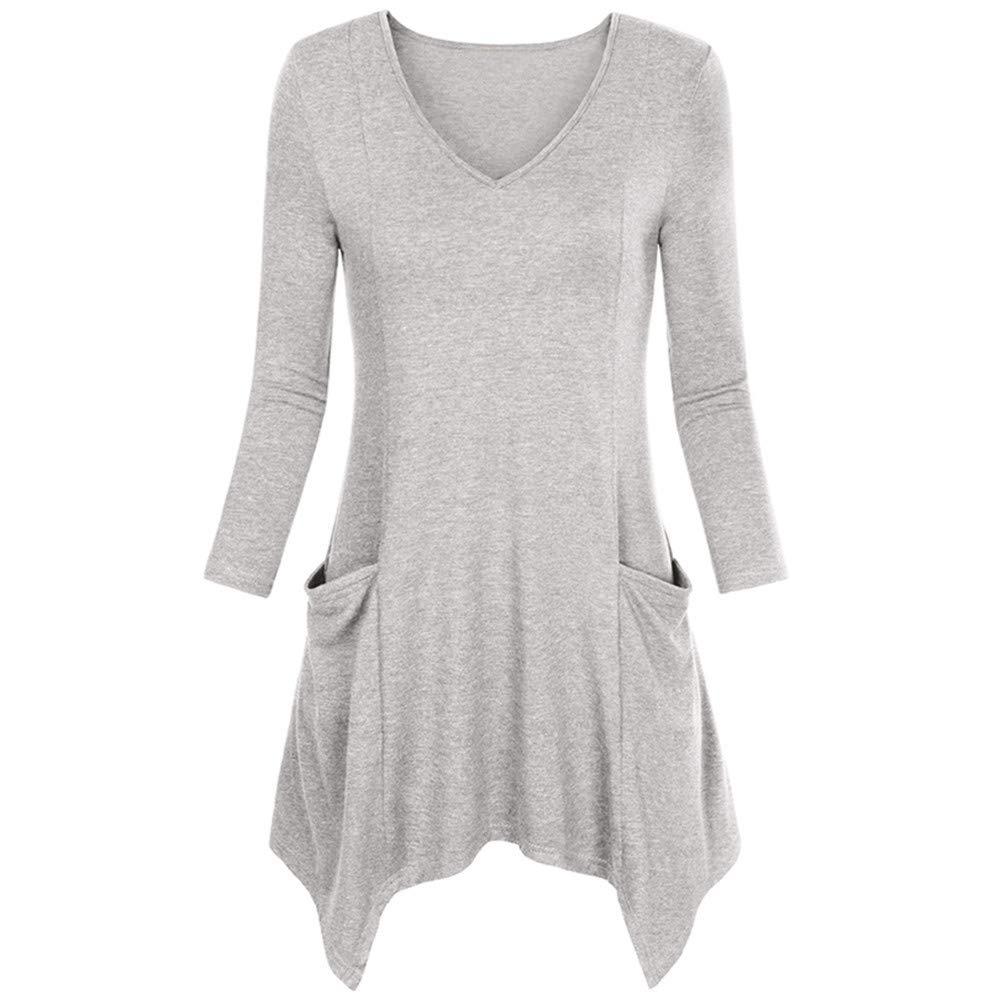 MEIbax Damen Stretch Tunika Normallack Runde Lange Hülsen Blusen V-Ausschnitt Pullover übersteigt Hemd mit Tasche Oberteile Tops Bluse Sweatshirt