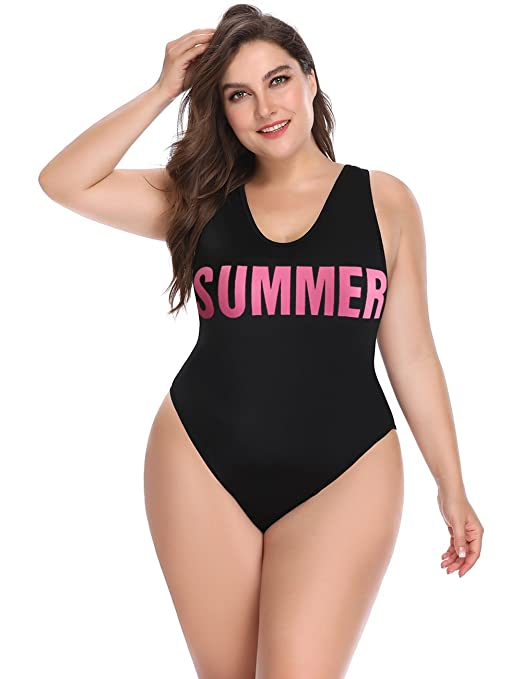 Women's Plus Size Swimwear with High Cut and Low Back One Piece Bathing Suit for Women