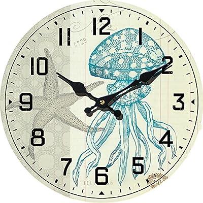 New-13-X-13-Jelly-Fish-Wood-Wall-Clock-Home-Wall-Decor-Coastal-Nautical-Beach
