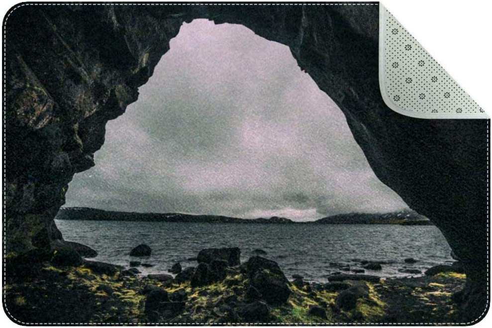 Iceland Cave Scenery Front Door Entry Non Slip Mat Outside Doormat Home Welcome Rug 31 x 20 Inches
