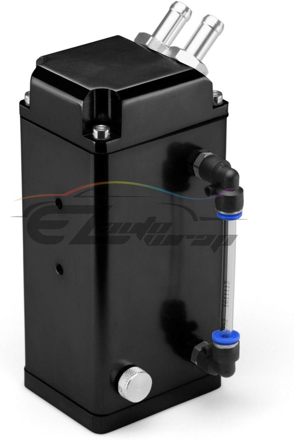 EZAUTOWRAP Yellow Square Aluminum Engine Oil Catch Tank Can Reservoir Breather #2