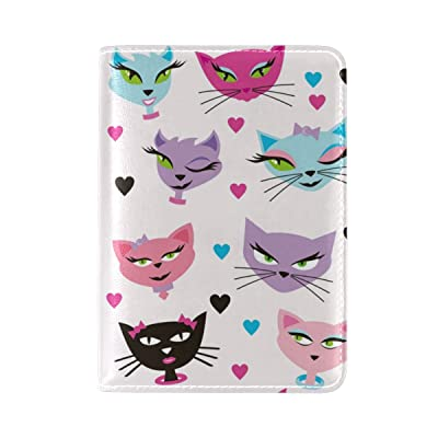 Cat Heart Leather USA Passport Holder Cover Travel Wallet Case Protector