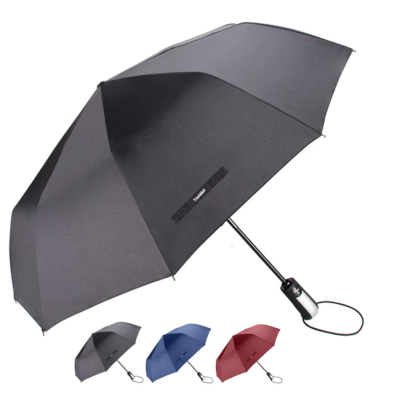 TradMall Travel Umbrella with 10 Reinforced Fiberglass Ribs 42'' Large Canopy Ergonomic Handle Auto Open & Close, Black by TradMall (Image #1)