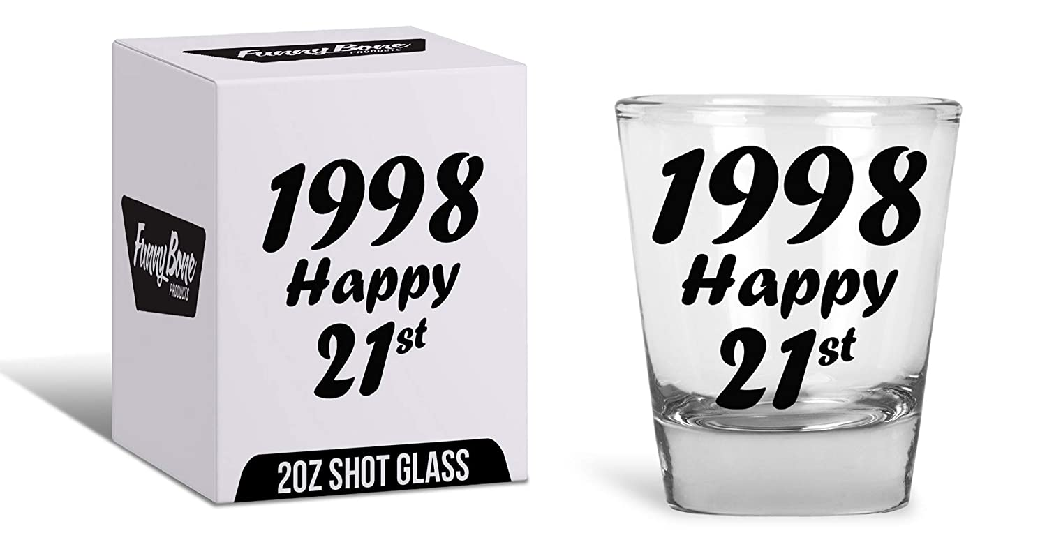 089aed4b Amazon.com | 21st Birthday Gift Shot Glass - Best Drinking Birthday Gift  Ideas - Celebrate Turning Twenty One With The Best Supplies: Shot Glasses