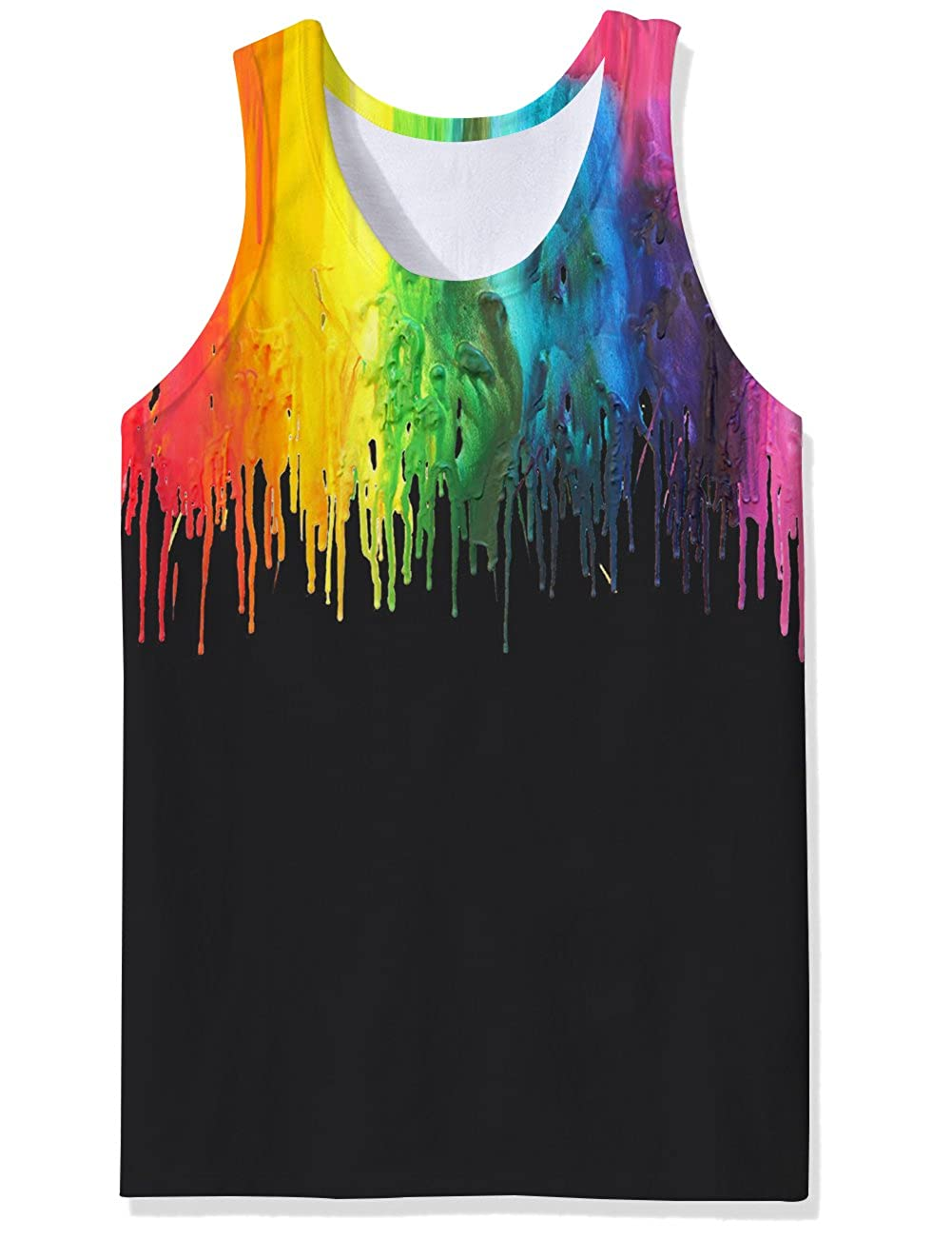 TUONROAD Vest Tops for Men Funny 3D Print Gym Tank Top Light Sleeveless Summer Casual Boys Vest Tops Round Neck Running Sports Tank-Top Slim Fit Holiday Beach Vest Top S XXL