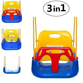 Emwel Columpio Infantil con Respaldo Alto, Bebés 3 en 1 Bebé Niño Asiento de plástico