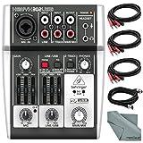 Behringer XENYX 302USB 5 Input Mixer and USB Interface & Accessory Bundle w/Cables + Fibertiqe Cloth
