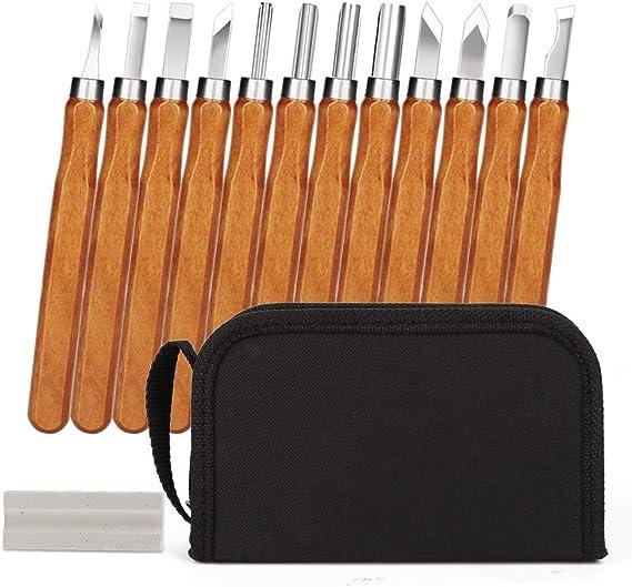 12x Schnitz Werkzeug Set Beitel Holz Bearbeitung Schnitzeisen Satz Schnitzmesser