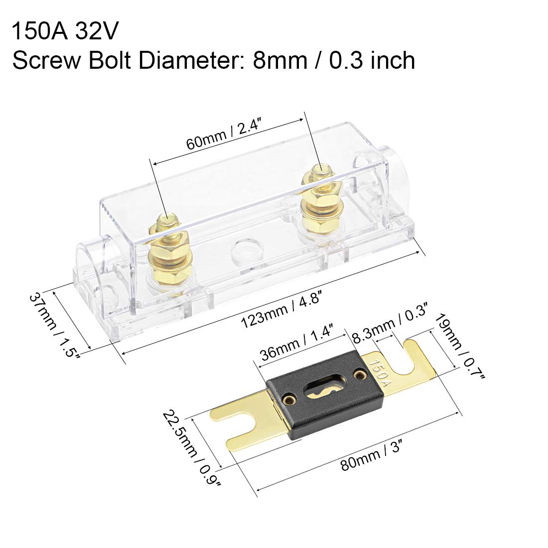 uxcell ANL Fuse Holder with 150 Amp Fuse DC 32 Volt for Automotive Car Vehicle Audio Amplifier Inverter Replacement with Clear Insulated Cover