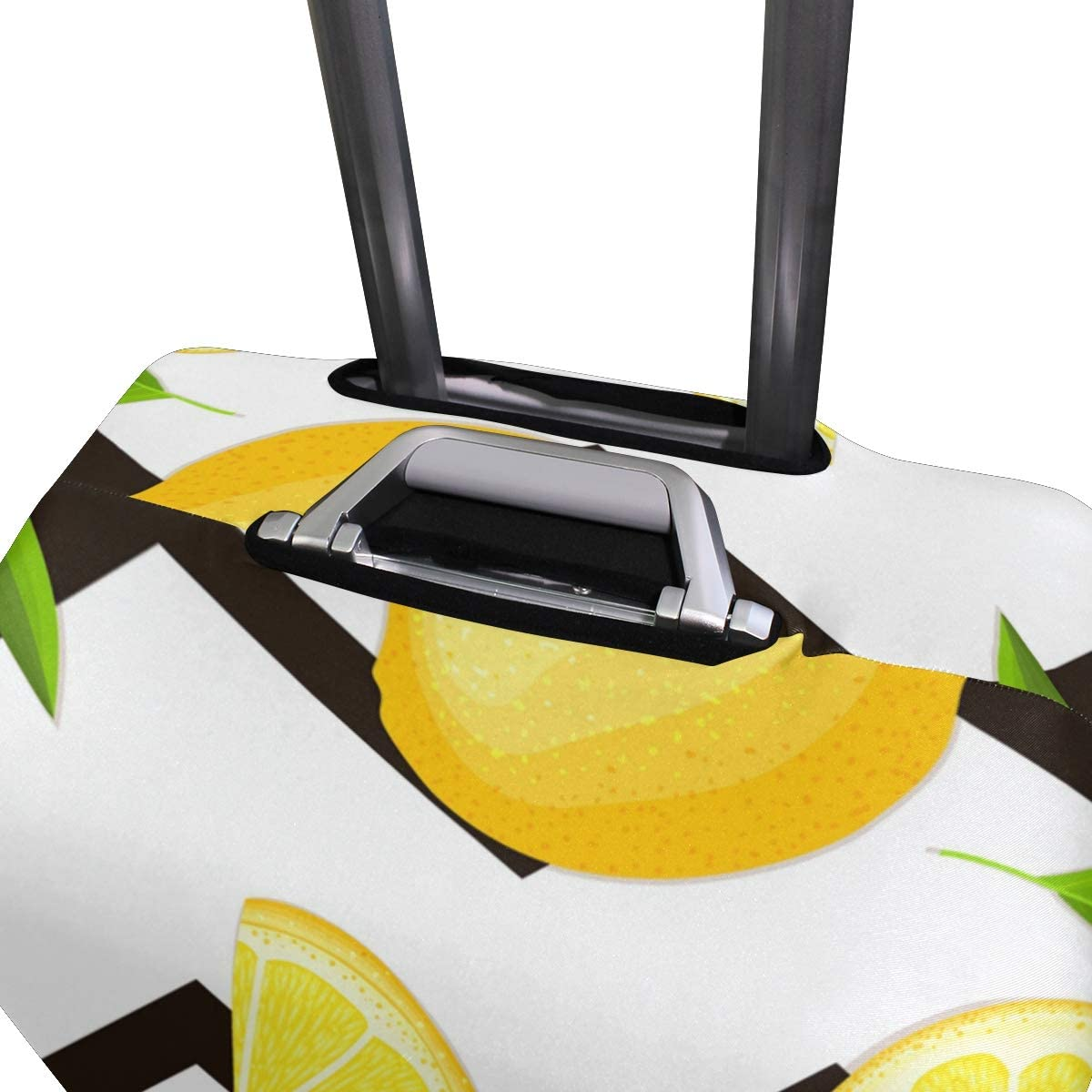 FOLPPLY Lemon With Stripes Chervon Luggage Cover Baggage Suitcase Travel Protector Fit for 18-32 Inch