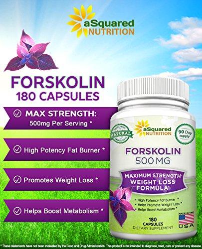 100% Pure Forskolin 500mg Max Strength - 180 Capsules, Forskolin Extract Supplement for Weight Loss Fuel, Coleus Forskohlii Root 20% Forskolin Diet Pills, Belly Buster Fat Burner 2x Slim Trim Lose