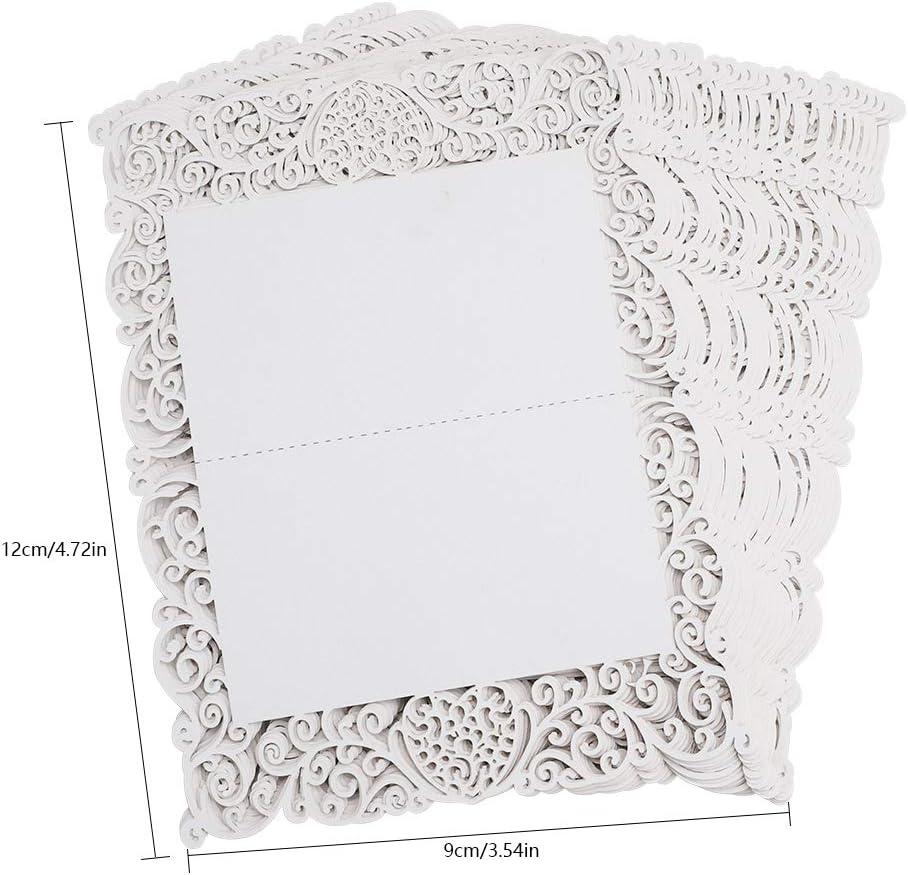 HICOO Cartes de Place Blanc Cartes de Table D/écoupe Florale au Laser Cartes de Nom pour la D/écoration de F/ête de No/ël de Mariage 30 Pack