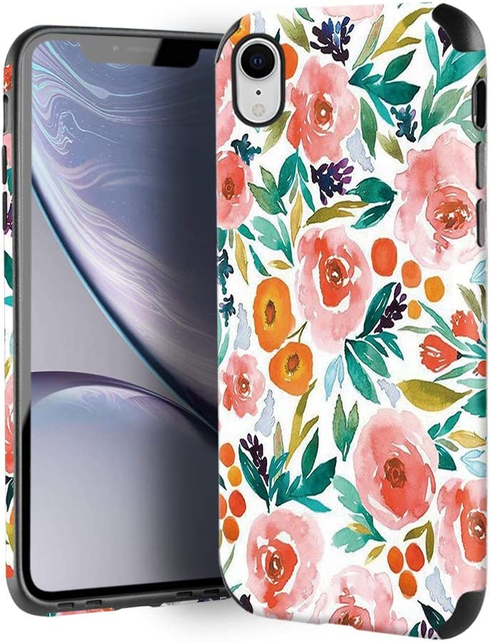 CUSTYPE Case for iPhone XR, iPhone XR Case Floral for Girls & Women, Floral Series Watercolor Camellia Flower Pattern Design PC Leather with TPU Bumper Slim Protective Cover for iPhone XR 6.1''