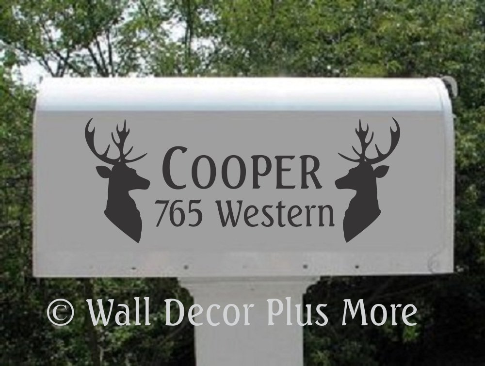 Mailbox Decals with Deer Mount Silhouettes Set of 2 Name, House Number, and Street Name Address Jumbo by Wall Decor Plus More