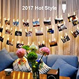 40 LED Photo Clips String Lights, Poscoverge Christmas Indoor String Lights for Hanging Photos Pictures Cards and Memos, Ideal Gift for Dor - Perfect for Hanging Pictures, Notes, Artwork (Warm White.)