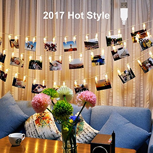 40 LED Photo Clips String Lights, Poscoverge Christmas Indoor String Lights for Hanging Photos Pictures Cards and Memos, Ideal Gift for Dor - Perfect for Hanging Pictures, Notes, Artwork (Warm White.) by NETCAT