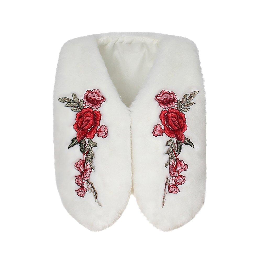 Tidecc Women Faux Fur Waistcoat Winter Sleeveless Floral Embroidery Gilet Jacket Overcoat Vest Coats