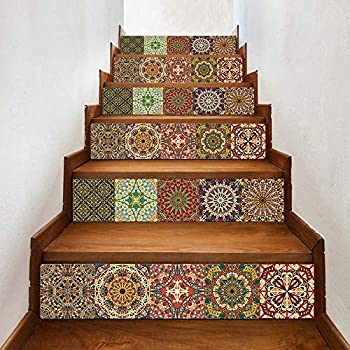 Stair Stickers Peel and Stick Tile Backsplash Stair Decals Brick Pattern Stair Riser Refurbished Stair Treads Decals Removable Waterproof Stairs Mural 7''W x 39''L (Set of 6) (LTT-029)