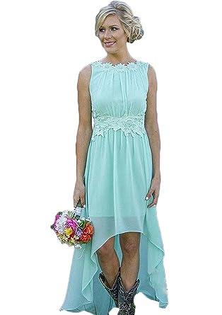 Meledy Women\'s Lace Chiffon Wedding Guest Dress Hi-Lo Beach ...