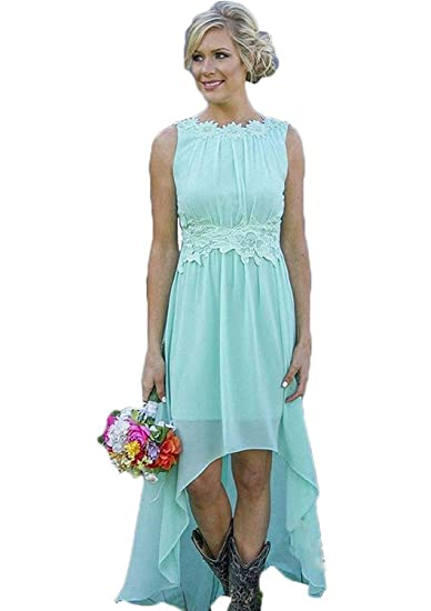 discount top design run shoes Meledy Women's Lace Chiffon Wedding Guest Dress Hi-Lo Beach ...