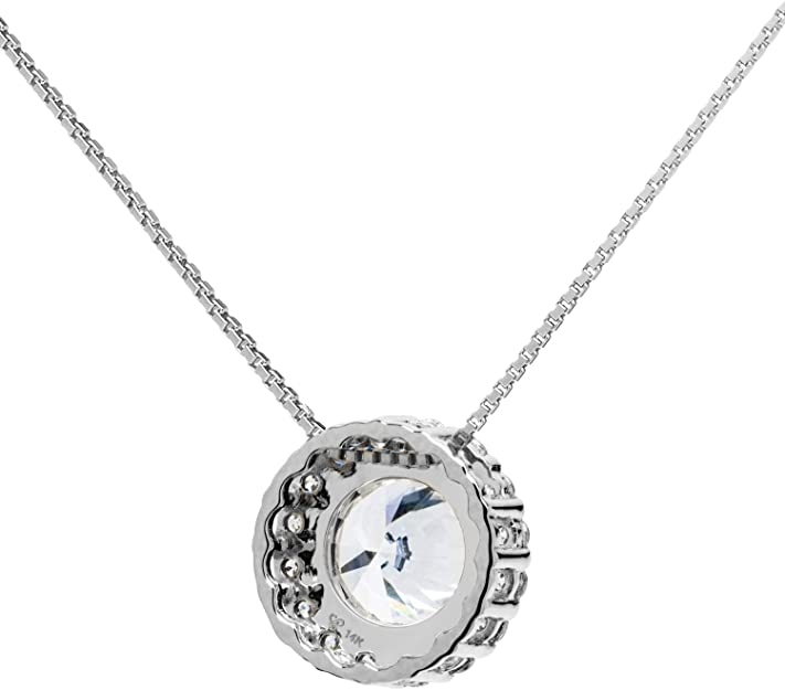 14K Solid White Gold Pendant Necklace 1.0 CT center Round Halo Cubic Zirconia Solitaire 16 Inch .60mm Box Link Chain 1.24 CTW