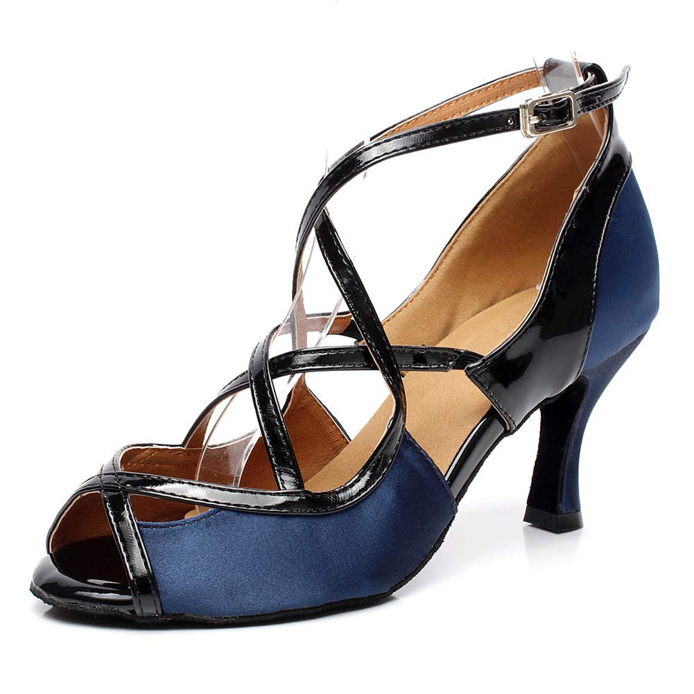 XIAOY Tanzschuhe für Damen Lateinische Satin Kreuz Gurt Dance Schuhe Rom Schnalle Hoher Absatz 7.5CM