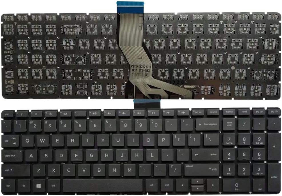 Laptop Replacement Keyboard Fit HP Pavilion 15-BS000 15-BS100 15-BS500 15-BS600 15-BS0XX 15-BS061ST 15-BS062ST US Layout (Black No Backlight)