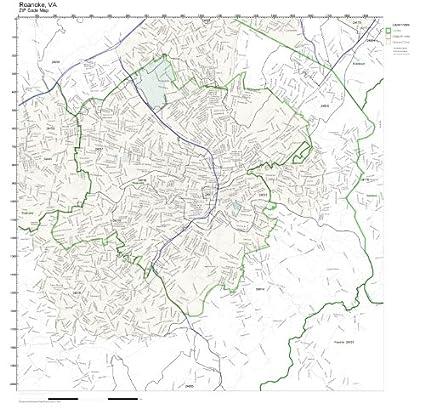 Roanoke Zip Code Map.Amazon Com Zip Code Wall Map Of Roanoke Va Zip Code Map Laminated