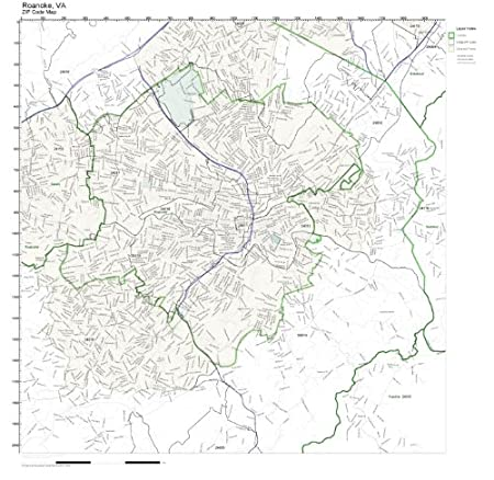 Roanoke Zip Code Map.Amazon Com Zip Code Wall Map Of Roanoke Va Zip Code Map Not