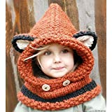 Winter Baby Kids Girls Boys Warm Fox Animal Hats Knitted Coif Hood Scarf Beanies for Autumn Winter (Orange)