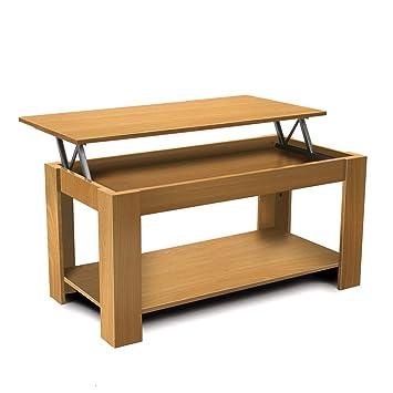 Homfa Tables De Cafe Multifonctionnelle Table Basse Avec Plateau Relevable Kaki