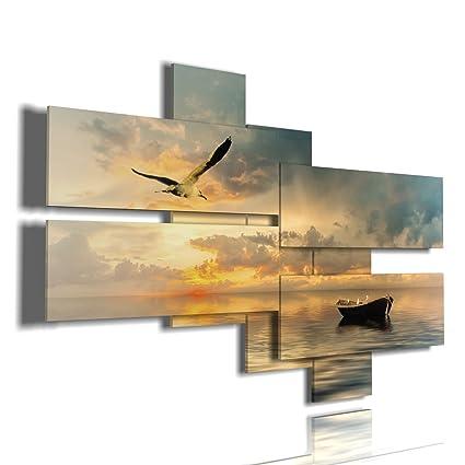 Quadri Mare 03 Quadri Moderni Soggiorno Mare Sole tramonti: Amazon ...