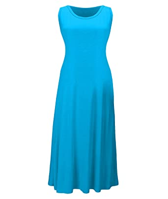 eeef5881912b Century Star Womens Plus Size Daily Casual Comfort Long Tank Dress  Sleeveless Stretchy Sleep Top Lake