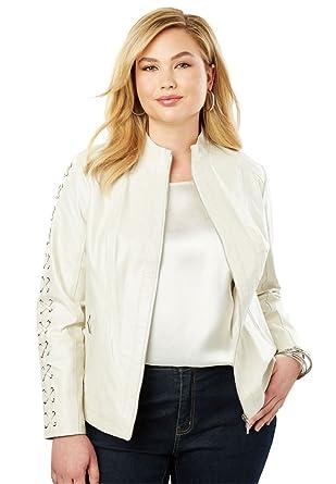 4d838d4e352 Jessica London Women s Plus Size Lace Up Leather Jacket at Amazon Women s  Coats Shop