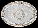 Ceiling Medallion French Blanco Beige Oval Shape 43 Inch x 31 Inch Chandelier Light Art Decor