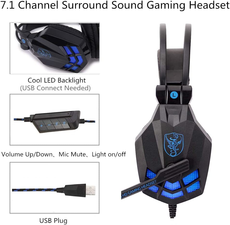 ICVDSRG Sy850Mv 7.1 Channel USB Light Gaming Headset Internet Cafes Gaming Headset,Red