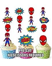 AK Giftshop PRE-CUT Spiderman Superhero - Edible Cupcake Toppers/Cake Decoraties (Pak van 36)