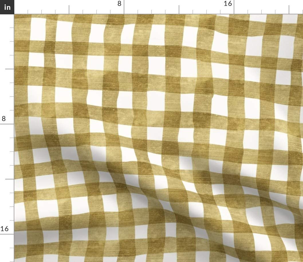 Spoonflower Fabric - Gold Plaid Gingham Holiday Forest Golden Mustard Yellow Check White Printed on Petal Signature Cotton Fabric by The Yard - Sewing Quilting Apparel Crafts Decor