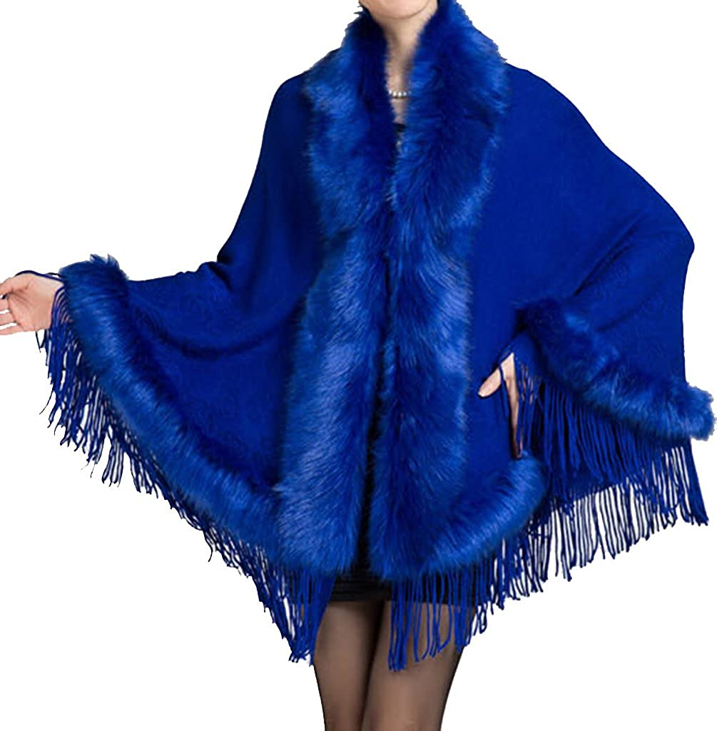 Helan Womens Faux Mink Fur Shawl Cloak Cape Coat with Tassels