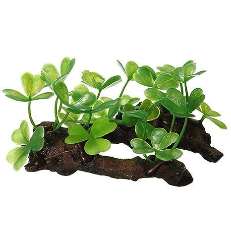 Hinmay Planta Artificial Acuario Planta Planta Plástico Plantas Grass Pecera Decoración Acuario Decor Verde Planta de
