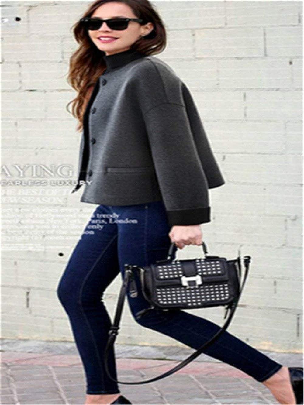 Giacche Donna Primaverile Autunno Manica Lunga Rotondo Collo Colori Solidi Cappotto Corto Eleganti Chic Fashion Sciolto Casual Vintage Outdoor Outerwear Giaccone Ragazza Grau