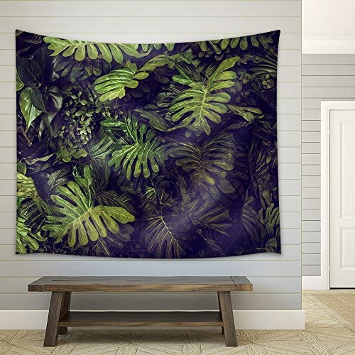 Green Monstera Leaves Texture for Background Top View in Dark Tone Fabric Wall