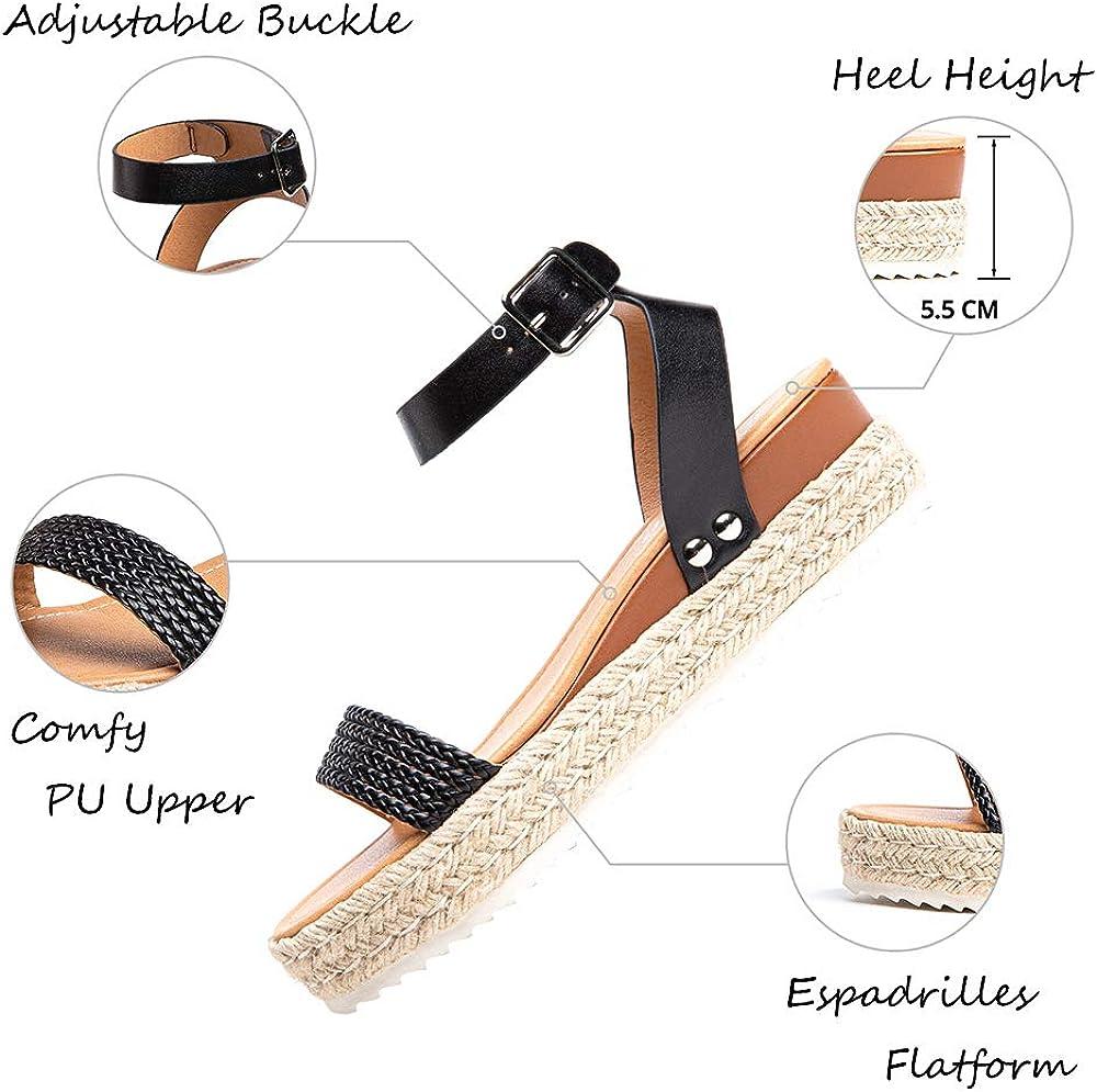 Sandale Plateforme Femme D'ete Espadrille Sandales Compensées Mode Bout Ouvert Faux Cuir Avec Sangle Cheville 5 Cm Noir Marron Kaki Léopard Taille 35-43 4
