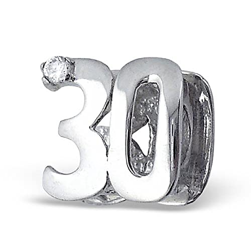 75c42c902 Number 30 Thirty 30th Birthday Charm Bead Sterling Silver Compatible with  Pandora Chamilia Troll Charm Bracelet: inBLISS: Amazon.ca: Jewelry