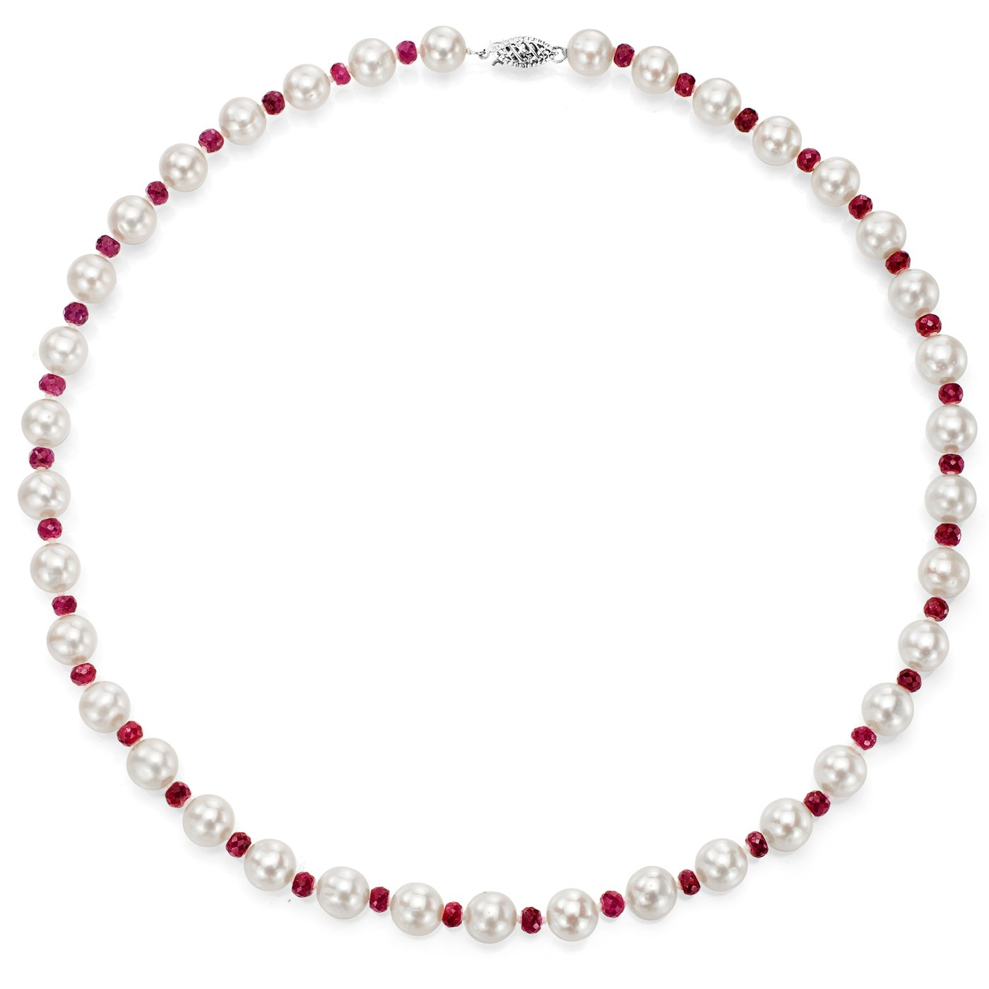14k White Gold 8-8.5mm White Freshwater Cultured Pearl and 4-4.5mm Simulated Red Ruby Necklace, 18''