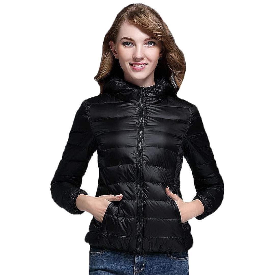 Black BiBOONES Women's Autumn and Winter 90% Ultra Light White Duck Down Jacket Warm Jacket