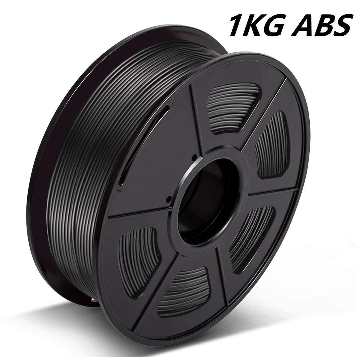 0.02mm,3D Printing Filament ABS Black,ABS Filament,1.75mm Filament // Dimensional Accuracy ABS Filament for 3D Printer,1KG Spool 3D Warhorse ABS Filament 1.75mm