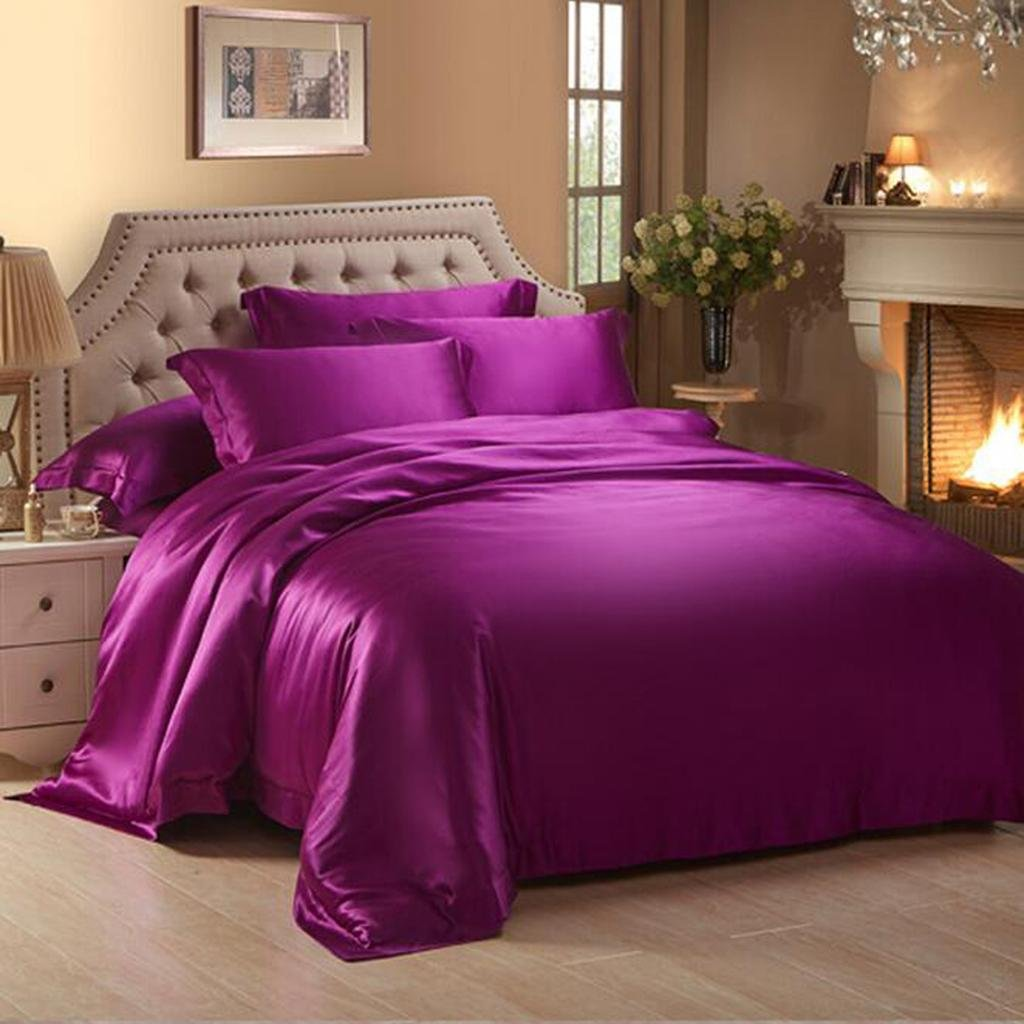 L&M Solid color Silk pieces of four sets 100% Silk Silk Smooth silk Bed sheets quilt 4 sets , purple , 2.0m