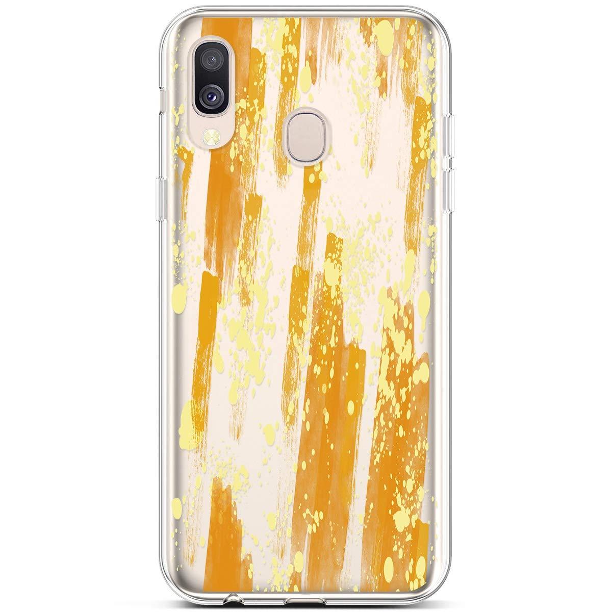 QPOLLY Compatible avec Coque Samsung Galaxy A40 Transparente Ultra Mince Silicone Housse Étui de Protection Clair Design avec Motif Imprimé [Exact Fit] TPU Souple Flex Case Anti-Choc Cover,Feuilles B
